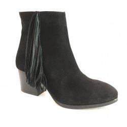Unisa cowboystøvle i sort ruskind med frynser