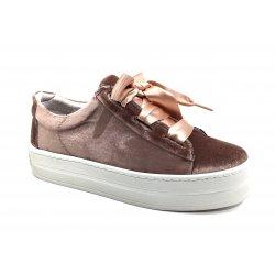 Cashott 17184 sneakers i rosa velour med satinsnøre