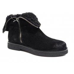 Nome 1634166 støvle i sort ruskind med foer