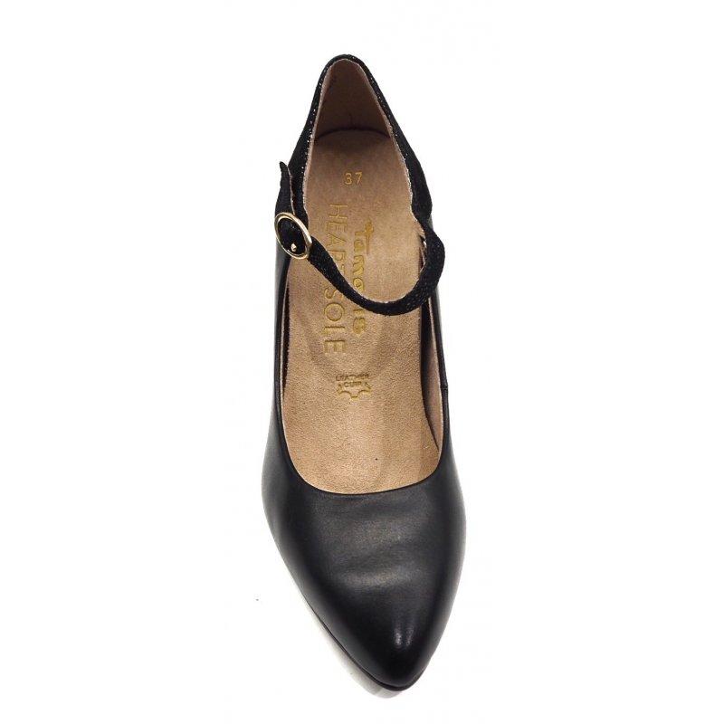 Heart & Sole sort skind pump på lav hæl Tamaris