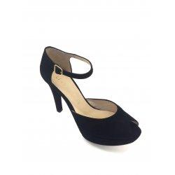 Unisa - sandal med hæl og plateau i sort