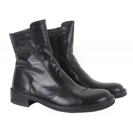 Bubetti - støvle i sort skind med lynlåse