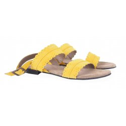 Cashott 19076 flad sandal i gul ruskind