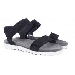 Cashott 21040 sort sandal med hvide såler og velcro remme