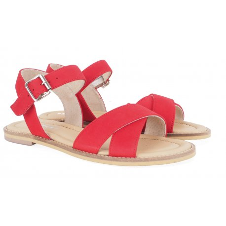 Pavement Roselyn sandal i rød nubuk skind