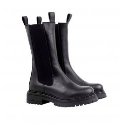 Cashott 24204 halv lang støvle i sort skind med grove støvler