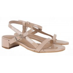 Pavement Edith sandal i nude lakskind med blokhæl