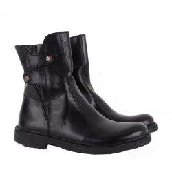 Bubetti 9892 støvle i sort skind med rågummisåler