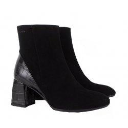 Wonders I-7732 støvle i sort ruskind med blokhæl