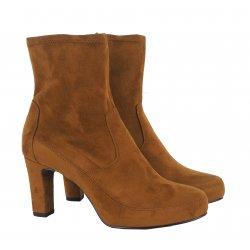 Unisa NOIA støvlette med hæl i cognac farvet ruskind