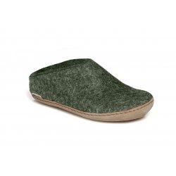 Glerups Tøffel i army grøn med lædersål