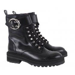 Billi Bi 4803 snørestøvle i sort skind med spænde
