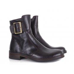 Bubetti 2047 mørkebrun støvle i skind med spænde på ydersiden
