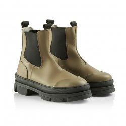 Pavement Wave gummistøvle i taupe med chunky såler