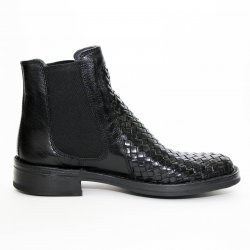 Bubetti 9586 støvle i flettet sort læder med elastik i siderne