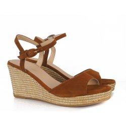 Unisa LAGATA sandal med kilehæl i cognac ruskind
