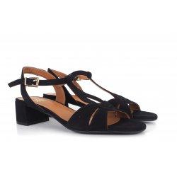 Billi Bi 2601 sandal i sort ruskind med blokhæl