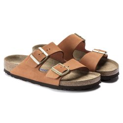 Birkenstock Arizona Nubuck leather Pecan blød fodseng