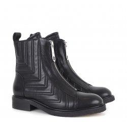 Billi Bi A1267 støvle i sort skind med lynlåse fortil