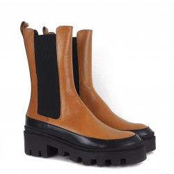 Billi Bi A1311 halvlang støvle i cognac med chunky såler