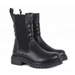 Cashott 26021 støvle i sort skind med detaljer